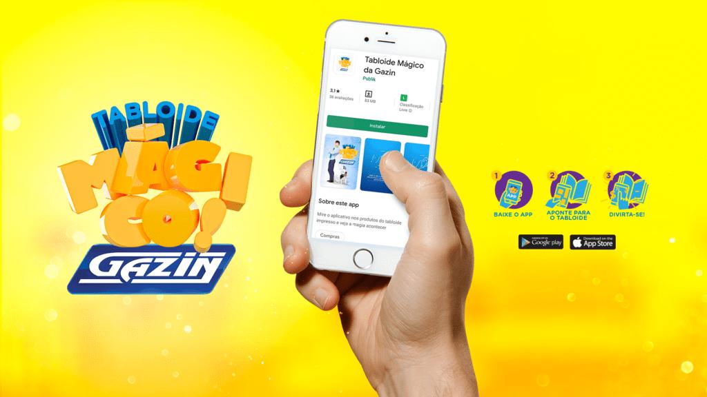 Arte autoral Gazin, mostrando um celular na mão de uma pessoa e na tela do aparelho o aplicativo do Tabloide Mágico Gazin, que trabalha com realidade aumenta.