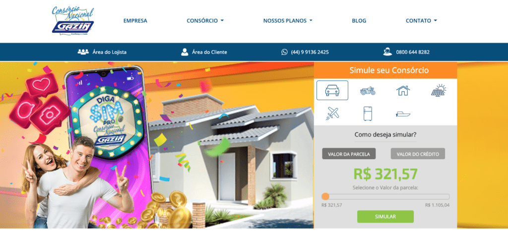 Print da tela do site de consórcios da Gazin