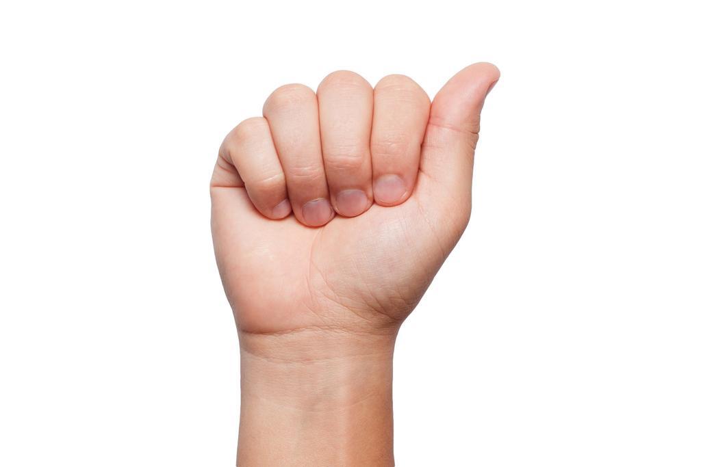 mão fazendo a letra A em sinal de Libras.